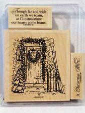 Stampin Up COTTAGE DOOR wood mount stamps Christmas wreath