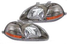 96-98 Honda Civic EK JDM Gun Metal Headlights Amber CTR Hatch Back Coupe Sedan