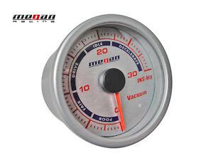 Megan Racing Vacuum Ratio Meter 52mm Silver Gauge LED lamps MR-MG-VM