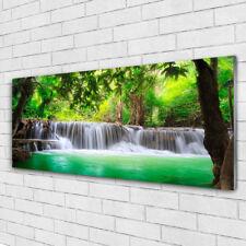 Wandbilder Glasbilder Druck auf Glas 125x50 Wasserfall See Wald Natur