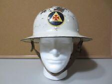 Original metal WW2 US Civilian Defense Firemen Helmet Liner Chin Strap (P2849)