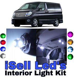 Bright White Interior LED Light Kit for Nissan Elgrand 1997-2005, 8Pieces
