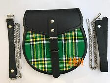 Scottish Kilt Sporran, Buckle on Irish / Green Plaid, Cowhide Leather + Belt