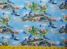 Feather Friends - Blue Birds Pink Floral Quilt Cotton Fabric By The Yard
