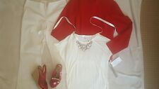 Women's Size 10 Complete Outfit Jacket Pants Embellished Top M Sandals Size 8