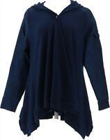 DG2 Diane Gilman Twill Knit Combo Draped Jacket INDIGO L NEW 668-146