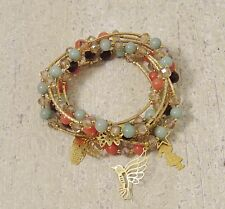 Earthy Bracelets 18k Gold Plated Crystals, Jade Beads & Multi Charms