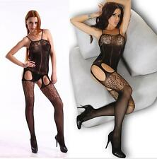 Hot Sexy Elastic open crotch Stocking Lace Flower Lingerie Bodysuit Costume EY