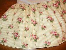 "RALPH LAUREN ""SOPHIE"" TWIN  BEDSKIRT-RARE TO SEE-YELLOW STIPE & ROSES-COTTON"