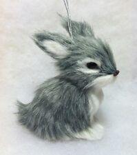 Woodland Rabbit Faux Fur Christmas Tree Ornament gray