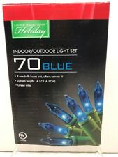 NIB Living Solutions Holiday 70 Blue Christmas Lights Each Indoor Outdoor