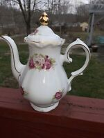 Vintage Winterling Bavaria Germany china Teapot with Lid white with pink roses