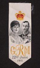 COURONNEMENT GEORGES V 22 juin 1911 Tissé sur soie de Saint-Etienne commémoratif