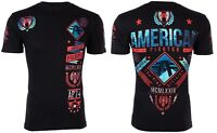 AMERICAN FIGHTER Mens T-Shirt LANDER Athletic BLACK RED Biker Gym MMA $40 NWT
