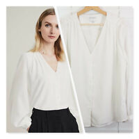[ WITCHERY ] Womens White Button up Blouse Top  | Size AU 14 or US 10