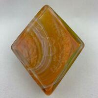 Boyd Art Glass Diamond Shape Logo Paperweight / Color Sample - Orange Slag