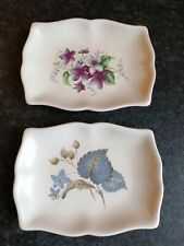 More details for 2 small vintage floral trinket dishes conserve butter plate axe vale pottery