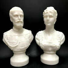 Russian Tsar Romanov Nikolay II & Alexandra by Legras Paris Opal glass Bust 1896
