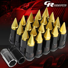GOLD 16 RIM LUG+4LOCK NUT+ADAPTERS M12X1.5 22OD 75MM SPIKY SPLINE STYLE STEEL