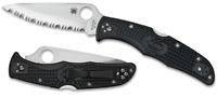 Spyderco Endura 4 knife Full Serrated Edge Black FRN Handle VG10 Steel C10SBK