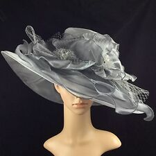 Womens Kentucky Derby Silver Grey Hat Wide Brim Dress Church Wedding Tea party