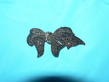 Broach Woman Costume Jewelry Vintage Silver Plate Ribbon Pin
