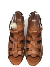 Bronx Women's brown Leather Wedge Sandals Size 6(BX 83).