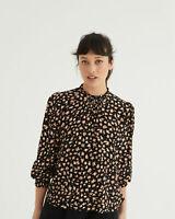 Oliver Bonas Women Abstract Animal Print Black Long Sleeve Top