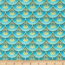 Rhapsody In Blue Metallic Fan Fare Blue Cotton Quilting Fabric FQ