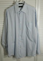 Joseph Abboud Mens Long Sleeve Striped Blue Cotton Dress Shirt Size: 16½ 34/35