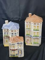 Vintage Avon Victorian House Cookie Jar Set of 3 Townhouse Canister Collection