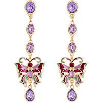 Fashion New Women Elegant Drop/Dangle Purple Enamel Butterfly Earrings BJ