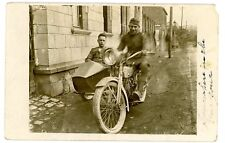 Germany -WWI SOLDIERS IN HARLEY DAVIDSON MOTORCYCLE & SIDE CAR- RPPC Postcard