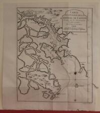 CANTON RIVER MACAU HONG KONG CHINA 1748 BELLIN ANTIQUE COPPER  ENGRAVED MAP