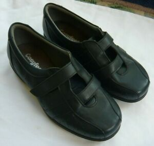 Cosyfeet Ladies Leather Shoes Wide Fit Extra Roomy Size 6 Dark Navy Blue