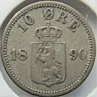 1890 NORWAY, Silver 10 Ore grading About VERY FINE.