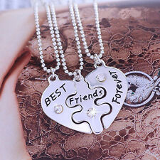 3Pcs Women's Best Friends Forever Heart Shape Jewelry Necklace Set Sanwood