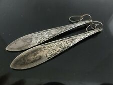 Engraved Etched Xlong Dangle Earrings Signed Antique Danish Spoon End Silver Pl