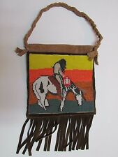 """NATIVE AMERICAN BEADED HIDE PURSE """"WARRIOR ON A HORSE"""" DESIGN - 8 IN X 8 IN"""
