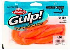 Berkley Gulp 6 Inch Grub Salmon Red 4 Count Saltwater Fishing Scented Bait RARE