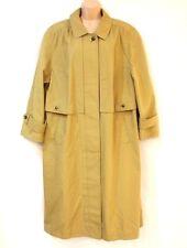 VTG Green Cotton Mix  Calf Length Ladies Women's Trench Coat Size UK 20 UK 22