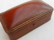 LOVELY QUALITY ANTIQUE LEATHER JEWELLERY JEWELRY BOX BROOCH RINGS WATCH