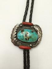 Turquoise Sterling Silver Stone Bennett Large Native American Indian Bolo Coral