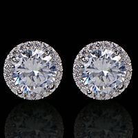 Womens 18K White Gold Plated Crystal Zircon Inlaid Ear Stud Earrings Jewelry