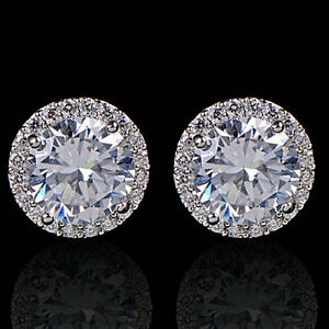 Women's Crystal Zircon Inlaid Ear Stud 18K White Gold Plated Earrings Jewelry