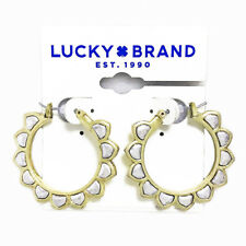 Tone Pointed Floral Hoop Earrings Lucky Brand Gold & Silver Two