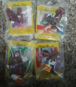 4 Vintage Hardee's California Raisins Figurines Toys Sealed in Plastic Full Set