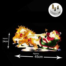 Light Up Mains Operated INDOOR Christmas Window Silhouette - Santa & Sleigh