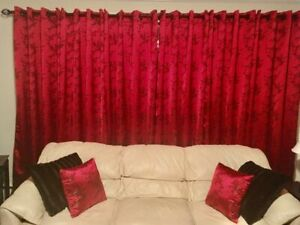 Asian Chinese Oriental Brocade Red Cherry Blossoms Silk Satin 2 Curtains Panels