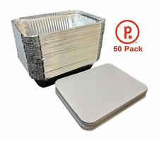 pinkada Disposable Aluminum Oblong Foil Pans with Lid Covers 50 Pack for